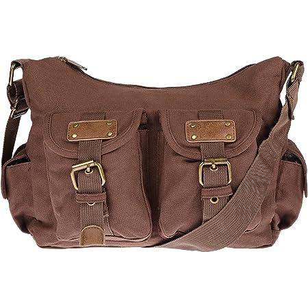 Christian Wippermann Damen Handtasche Schultertasche Tasche Umhängetasche Canvas Shopper Crossover Bag Braun