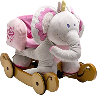 labebe - Plush Rocking Horse, Pink Ride Elephant, Stuffed Rocker Toy for Child 1-3 Year Old, Kid Ride On Toy Wooden, 2 In ...