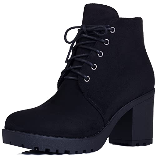 a23ddbcb2566 Spylovebuy GIRA Women s Lace up Chunky Block Heel Platform Ankle Boots Shoes