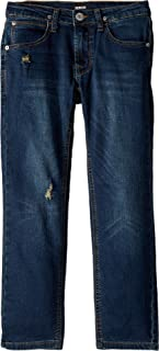 Hudson Kids Mens Jagger Slim Straight French Terry Jeans in Ripped Rippedo (Big Kids)