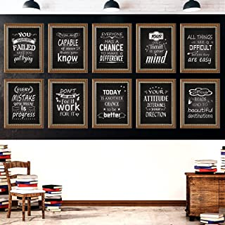 10 Pieces Industrial Chic Posters with Motivational and Inspirational Quotes, 11 X 13.8 Inch Bulletin Board Poster Set, Sc...