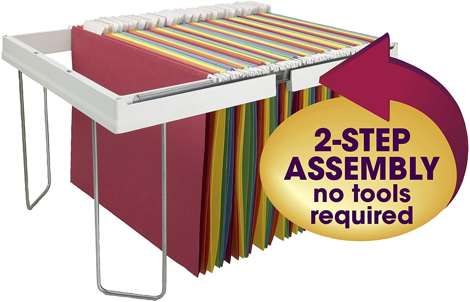 """Smead Heavy-Duty Adjustable Hanging Folder Frame, Letter Size, White, 16"""" to 24"""", 1 per Pack (64851) : Office Products"""