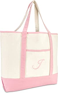 DALIX Tragetasche, Schultertasche aus Baumwolle, für Damen, rosa, Monogram A - Z
