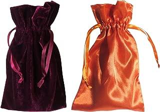 "Tarot Bags: Wine Velvet and Orange Satin Duo Bundle (6"" X 9"" Each)"