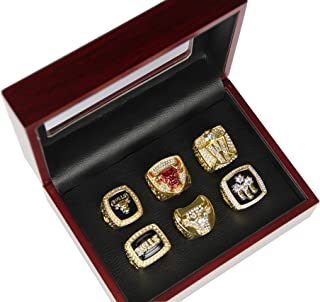GF-sports store Set of 6 NBA Bulls Championship Replica Ring by Display Box Set-Various Sizes Collectible