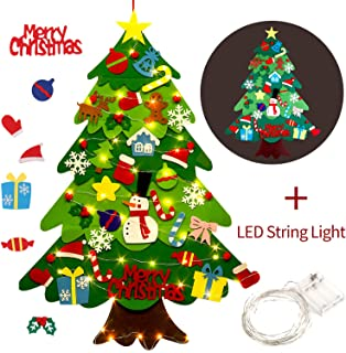 comprar comparacion Outgeek Fieltro Árbol de Navidad, 3.2ft DIY Christmas Hanging Tree Set con 50 Luces LED 32 Piezas Adornos Árbol de Navidad...