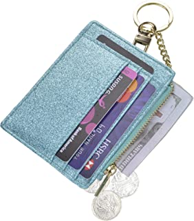 Womens Slim RFID Credit Card Holder Mini Front Pocket Wallet Coin Purse Keychain - - Small