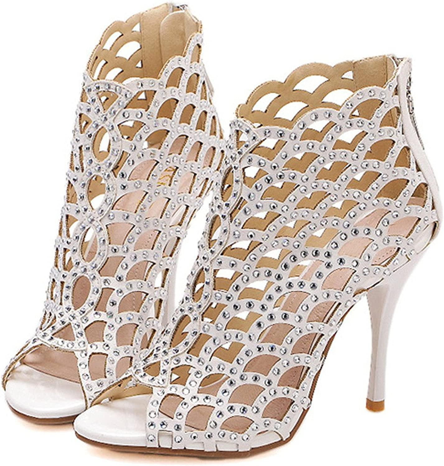 Reinhar Womens Sparkle Sandals Stiletto Sandals Cutouts Night Club Party Dress High Heels White10 B(M) US