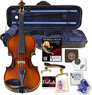 Bunnel G1 Violin Outfit 4/4 Full Size - Carrying Case and Accessories Included - Highest Quality Solid Maple Wood and Ebony Fittings By Kennedy Violins