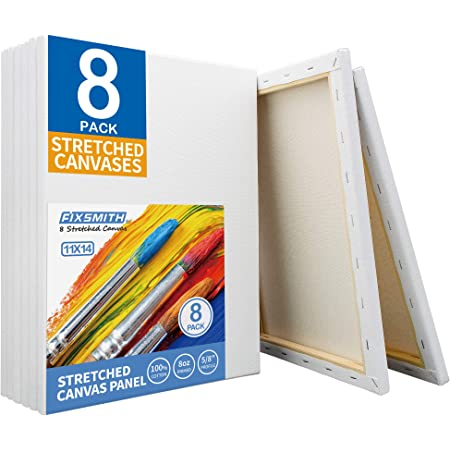 FIXSMITH Stretched White Blank Canvas - 11x14 Inch, 8 Pack, Primed,100% Cotton,5/8 Inch Profile of Super Value Pack for Acrylics,Oils & Other Painting Media