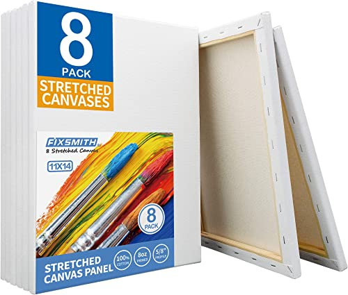 FIXSMITH Stretched White Blank Canvas- 11x14 Inch,Bulk Pack of 8,Primed,100% Cotton,5/8 Inch Profile of Super Value P...