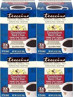 Teeccino Dandelion Red Chai Dandelion Root Roasted Herbal Tea, Caffeine free, Gluten free, Acid Free, Prebiotic 10 Tea Bags (Pack of 4)