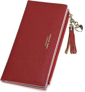 JOSEKO Wallet for Women Tassel PU Leather Multi-Slots Long Wallet Slim Card Holder Purse Zipper Clutch for Women Black On...