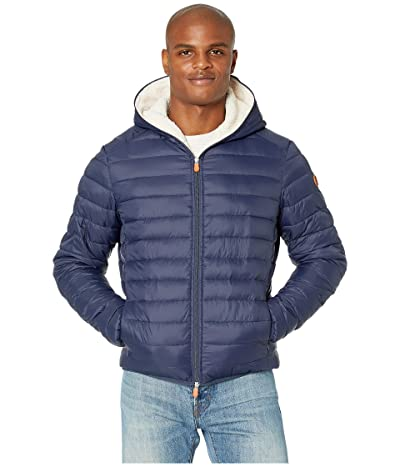 Save the Duck Giga 9 Hoodie Puffer Jacket with Sherpa Lining (Navy Blue) Men