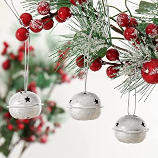 ToBeIT 30 Pieces Jingle Bells with Snowflake Cutout 1.6 Inch/ 40 mm Christmas Craft Bells for Festival Decorations (Silver...