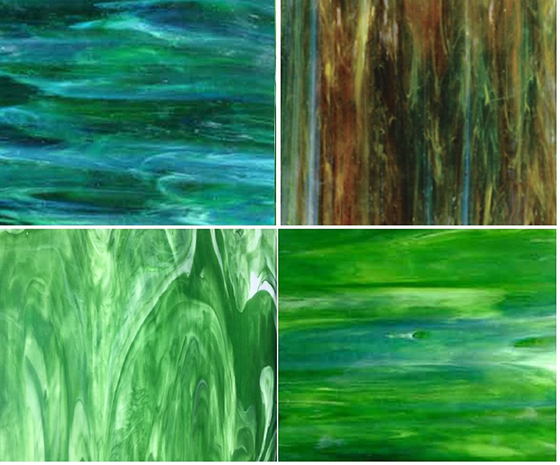 GREEN Wissmach Stained Glass Sheet Pack