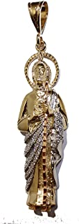 San Judas Tadeo - St. Jude Thaddeus 14k Gold Plated Three Tone Gold with 24 Inch Chain