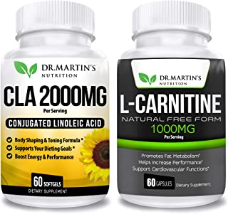 L Carnitine & CLA Bundle - 2 Supplements | Active Conjugated Linoleic Acid for Weight Management | Boost Your Metabolism a...