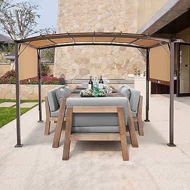 AECOJOY 11.8' X 9.3' Outdoor Retractable Pergola Canopy,Metal Frame Grape Gazebo & Canopy Cover, Outdoor Steel Pergola Ga