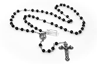 Catholic Gift Shop Ltd Lourdes Water Rosary Beads with Hematite Beads and a Small Bottle of Lourdes Water Attached UNIQUE