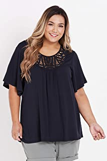 Beme Short Sleeve Lace Neck Top - Womens Plus Size Curvy