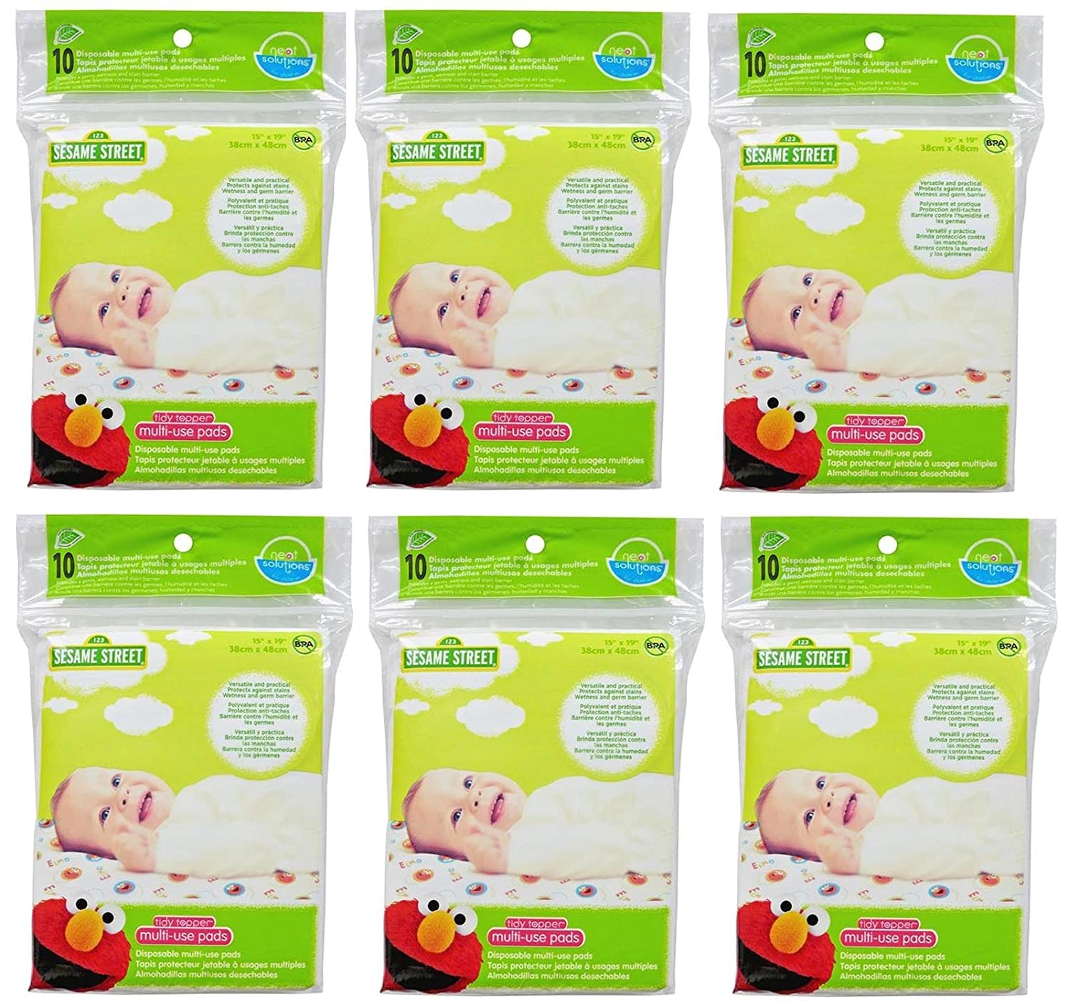 Neat Solutions Sesame Street Tidy Topper Multi-Use Disposable Pads 60 Count, 15