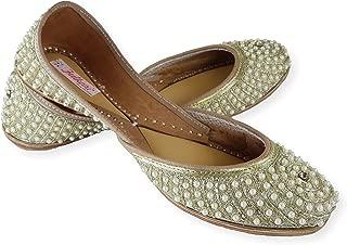 Fulkari Women's Preal Genuine Soft Leather Jutis | Bite and Pinch Free Jutis | Punjabi Jutti for Ladies Flat Mojari | Bridal Ethnic Flats for Girls |