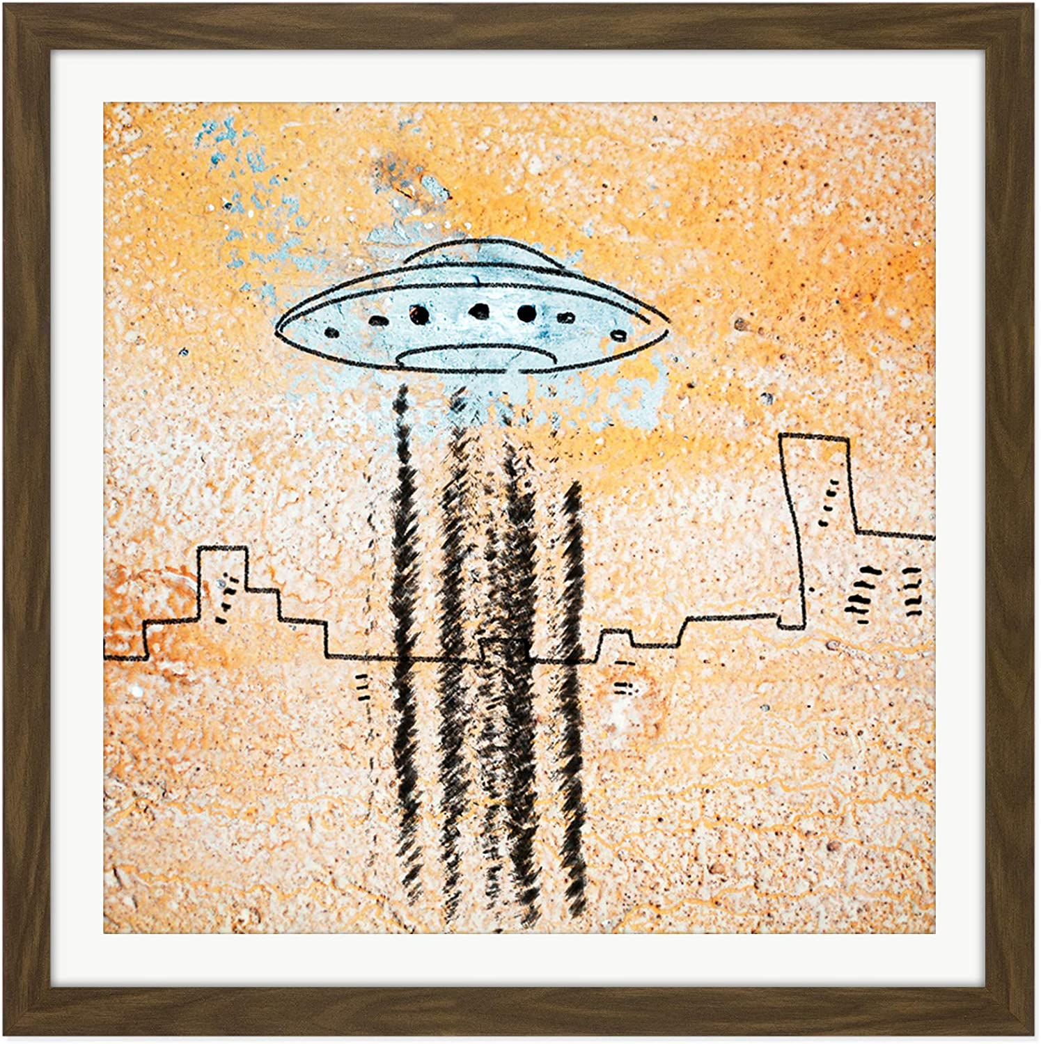 UFO Flying Saucer City Abstract Illustration XL Wall Art Canvas Print