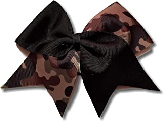 Cheer Bows Black B Camo Camouflage Military Support Hair Bow