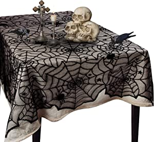 Korlon Halloween Tablecloth, Spider Web Lace Halloween Table Decor Table Cover for Halloween Table Decorations Party Favors , 54 x 72 Inch
