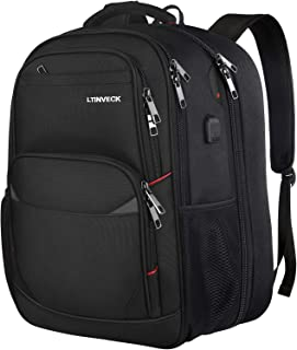 Travel Laptop Backpack, Extra Large Business Work Computer Backpack for Men Women with USB Charging Port, TSA Friendly Heavy Duty Big College School Backpacks Bag Fit 17 Inch Laptops, Durable Bookbag black 17inch Laptop Backpack Extra Large