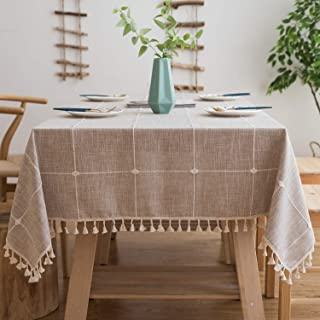Mokani Washable Cotton Linen Solid Embroidery Lattice Design Tablecloth, Rectangle Table Cover Great for Kitchen Dinning Tabletop Buffet Decoration (55 x 55 Inch, Brown)