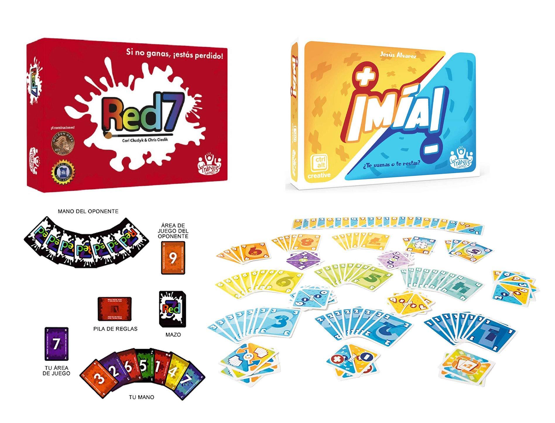 Outletdelocio. Pack 2 Juego de Cartas ¡MIA! + Red7. Edicion Española. +6 años: Amazon.es: Juguetes y juegos