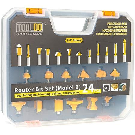 Woodworking Drill Bit Sets 12PCS 1//4/'/' Shank Carbide Tipped Router Bit Set