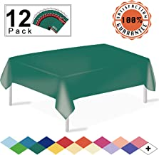 Dark Green Plastic Tablecloths Disposable Table Covers 12 Pack Premium 54 x 108 Inches Table Cloths for Rectangle Tables up to 8 Feet and for Picnic Birthdays Weddings Events Occasions, PEVA Material