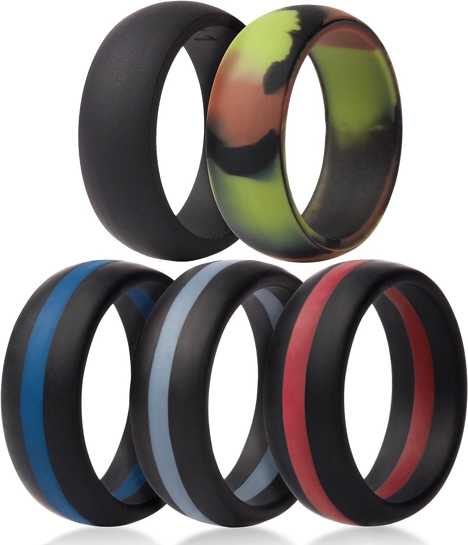 Saco Band Silicone Wedding Rings - Middle Line & Plain