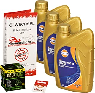 Gulf 10W 40 Öl + HiFlo Ölfilter für Suzuki SV 650 /S, 99 10, AV BY   Ölwechselset inkl. Motoröl, Racing Filter, Dichtring