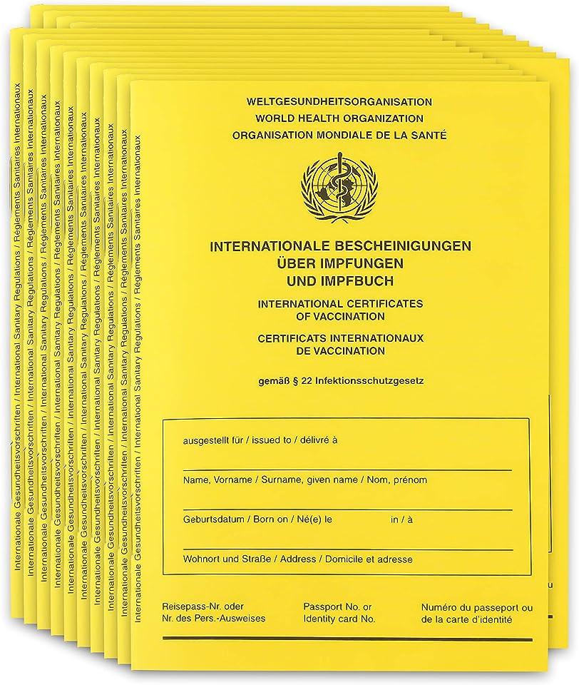 25x Original 2021 Impfpass Impfausweis Impfbuch international - inkl. Covid-19 Seite + WallTrust RFID Schutzhülle