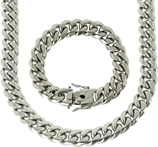 Solid Silver Finish Stainless Steel 16mm Thick Miami Cuban Link Chain Box Clasp Lock