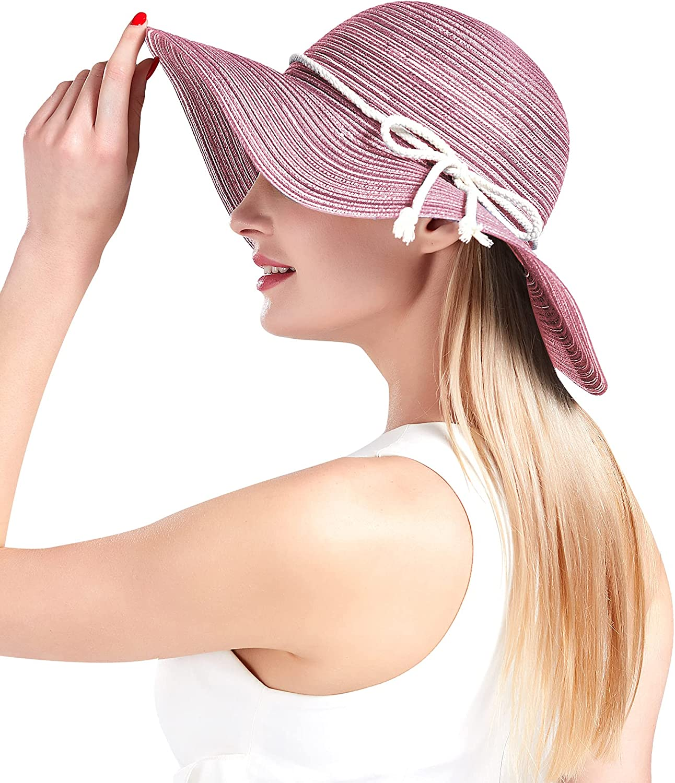 UNOHENG Women's Beach Hat Wide Brim Summer Hats for Women Foldable Cotton Hat