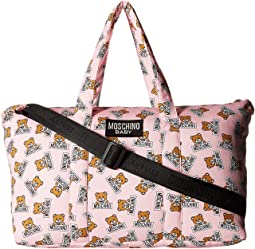 Teddy Bear Logo Print Diaper Bag w/ Changing Mat