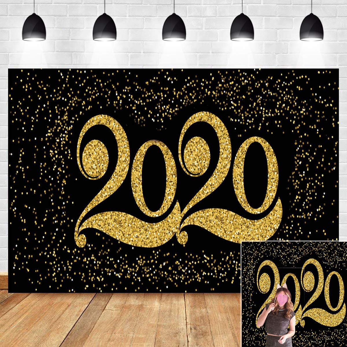 Gold Black Foil Swirls with Bonus Photo Paper Props NYE Theme Party Supplies Decoration Kit PartyHacks 55ct New Years Eve Party Hanging Decorations 2020