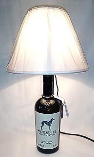 Lampada da tavolo bottiglia vuota Gin Windspiel idea regalo riciclo creativo riuso arredo design paralume abat jour
