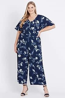 Beme Short Flutter Sleeve Floral Jumpsuit Navy Floral 18 - Womens Plus Size Curvy