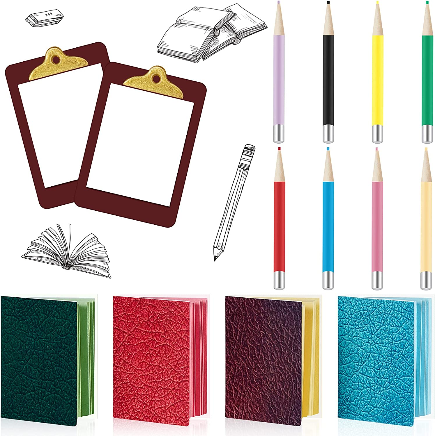 4 Pieces Miniature Book with 8 Pieces Miniature Pencil and 2 Pieces Miniature Clipboard Dollhouse Toy Home Miniature Model DIY Decor Doll House Accessories Coloring House Playset for Collectors