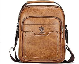Elios Tan Brown PU Leather Trendy Large Capacity Multi-Utility Crossbody Travel Work Wear Messenger Bag For Men