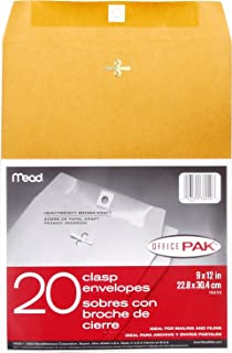"Mead Clasp Envelopes, 9"" x 12"", Brown Kraft, Office Pak, 20 per Box (76020)"