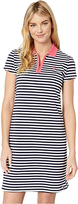 Short Sleeve Zip Stripe Dress