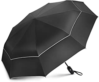 Compact Travel Umbrella with Windproof Double Canopy Construction - Auto Open and Close Button