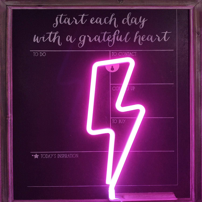 Babyzimmer Weihnachtshochzeitsfeierzubeh/ör Lightning Bolt Leuchtreklamen Pink Lightning Shape Leuchtreklame Art Decorative Lights Wanddekoration f/ür Weihnachten Pink Neon Lightning